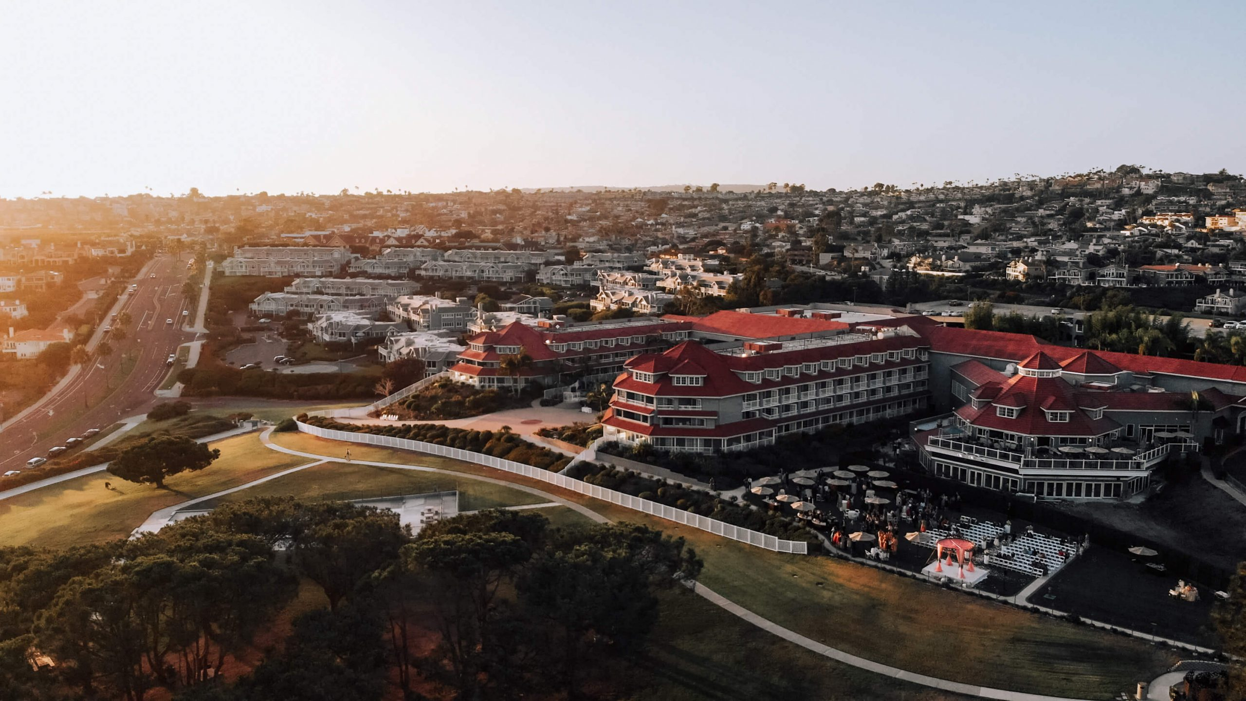 Drone shot of a hindu wedding ceremony in Laguna Cliffs Marriott Resort & Spa, CA