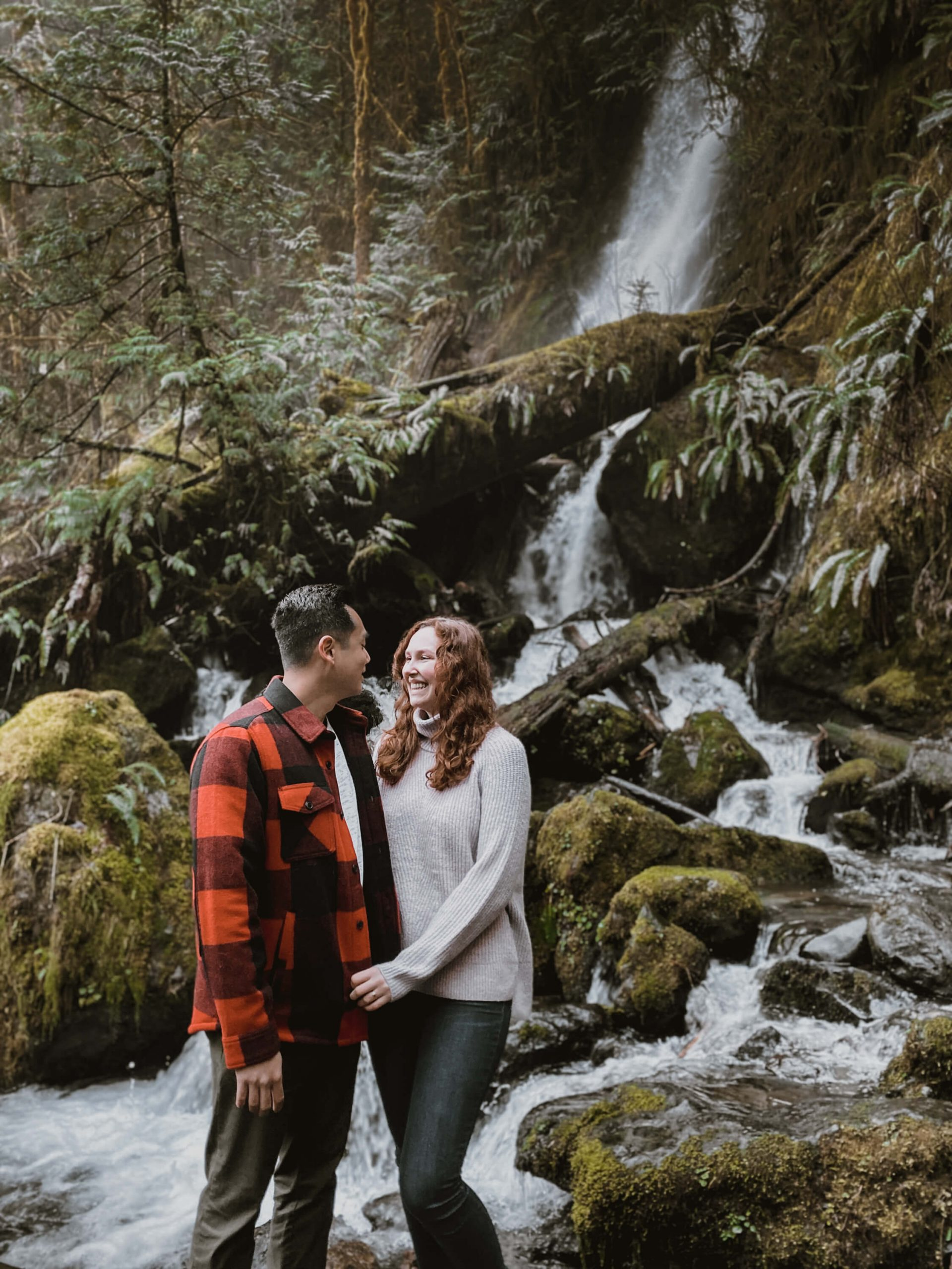 pre-wedding shoot with lovely couple by the waterfalls
