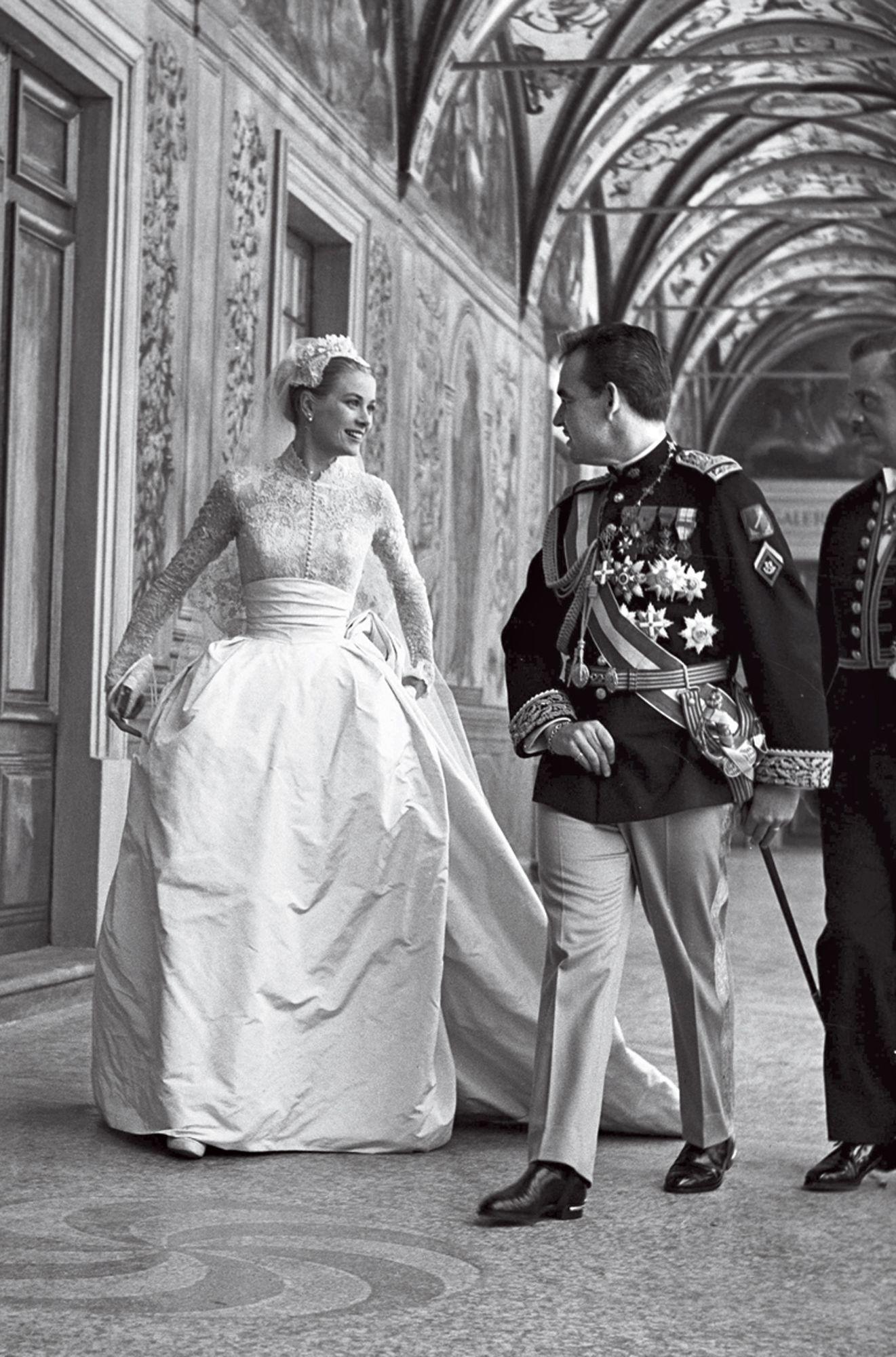 Grace Kelly in her wedding dress