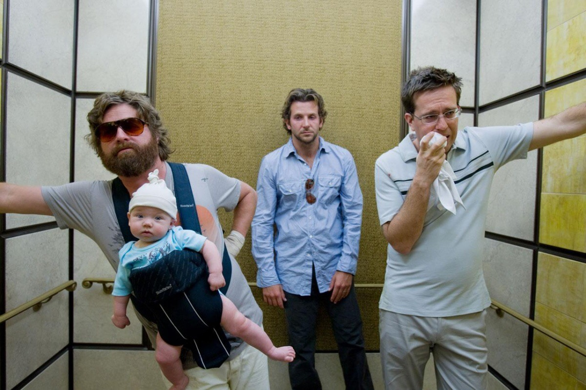 wedding movie, scene from 'The Hangover', guys inside an elevator
