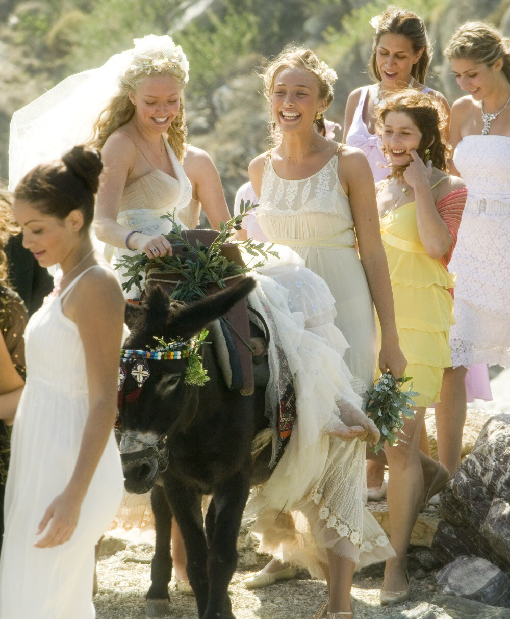movie scene from 'Mamma Mia!' bride riding a horse