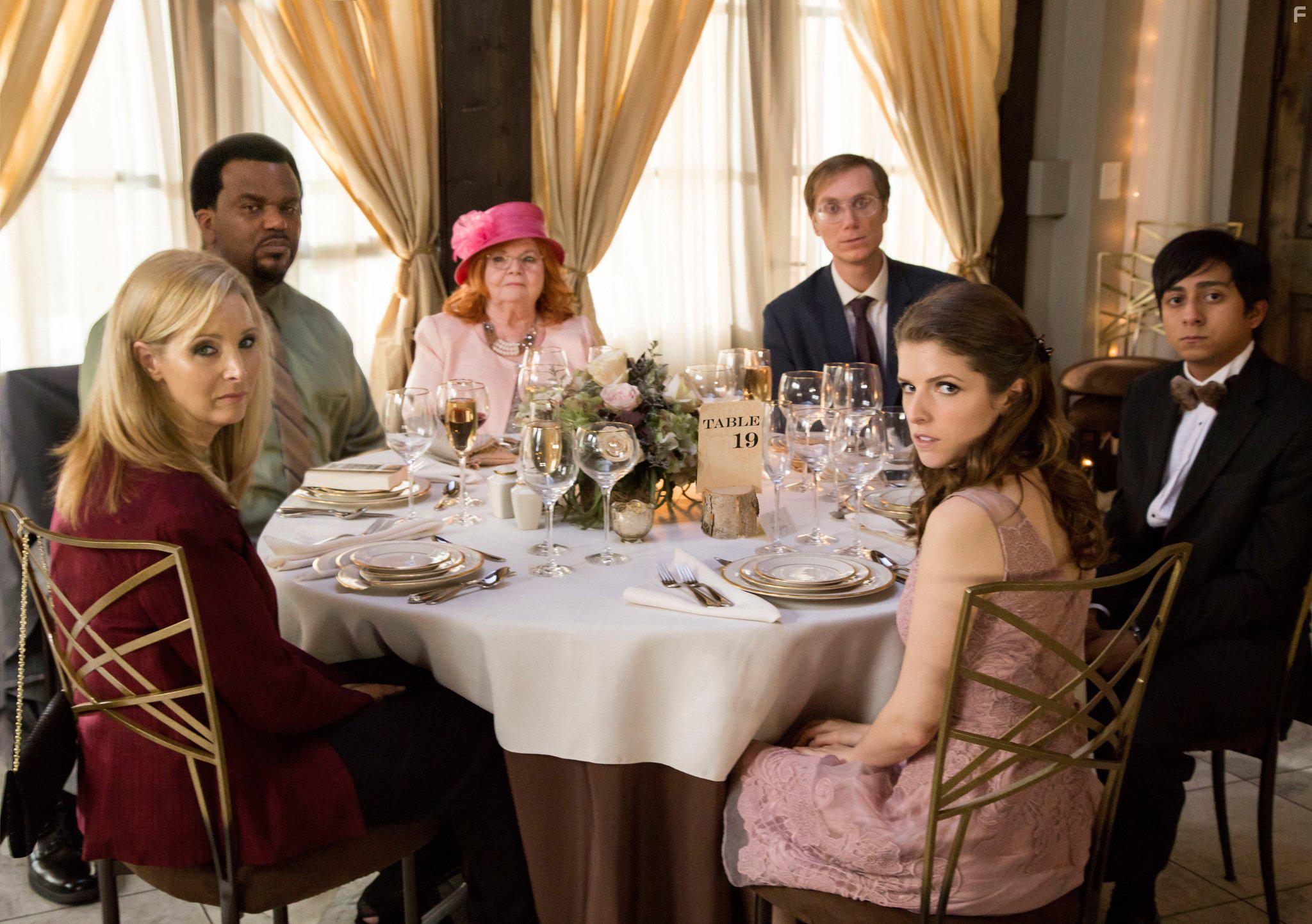 Table 19, movie scene of the wedding guests sitting around the table